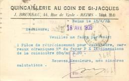 51 REIMS CARTE LETTRE QUINCAILLERIE AU COIN DE ST JACQUES  44 RUE DE VESLE VOIR SECOND SCAN - Reims