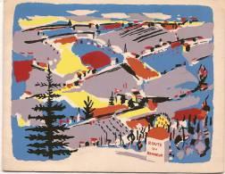 """Carte De Voeux/""""Route Du Bonheur""""/Paysage Campagnard De Montagne Sous La Neige /vers 1950      CVE17 - Stagioni & Feste"""