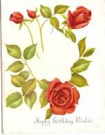 """Carte De Voeux/Anniversaire/""""Happy Birthday Whishes""""/Bouquet De Roses/England/vers 1930         CVE20 - Saisons & Fêtes"""