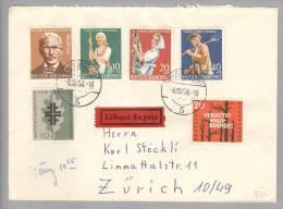 BRD 1958-10-06 Düsseldorf Expressbrief Nach Zürich Interessante Frankatur - [7] République Fédérale