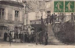 TRES RARE NERSAC COUR DU CHATEAU  CPA ANIMEE AVEC SOLDATS BATIMENT OCCUPE PENDANT LA GUERRE DE 1914 - Autres Communes