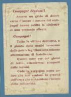 """DOCUMENTO MILITARE - GRANDE GUERRA - VOLANTINO : """" Compagni Studenti  Tutte Le Vittime Dell'Istria...."""" - Documenti Storici"""