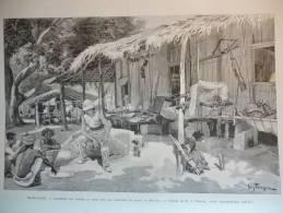 Madagascar, Campement Des Troupes Du Génie En Avant De Majunga , Gravures Dochy Dessin Tinayre 1895 - Historical Documents