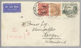 Australien 1930-11-14 Melburne Air Mail Brief Nach Horgen - Briefe U. Dokumente