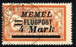 MEMEL 1922 (Oct.) Airmail 4 Mk. On 2 Fr. Of France Used.  Michel 104 - Klaipeda