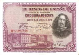 BILLETE DE ESPAÑA DE 50 PTAS DEL AÑO 1928 SERIE B CALIDAD MBC (BANKNOTE) - [ 1] …-1931 : Primeros Billetes (Banco De España)