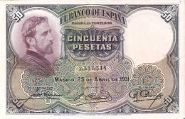 BILLETE DE 50 PTAS DE 1931 E. ROSALES SIN SERIE CALIDAD EBC+   (BANKNOTE) - [ 1] …-1931 : Primeros Billetes (Banco De España)