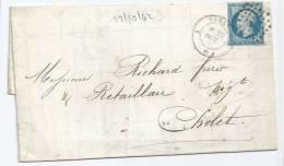 N° 14 BLEU NAPOLEON SUR LETTRE /  PARIS A POUR CHOLET / 22 OCT 1862  TYPE 2 - Marcophilie (Lettres)