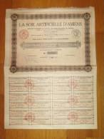 Action De 100 Francs -  La Soie Artificielle D'AMIENS  - - Industrial