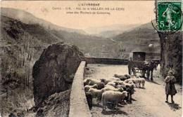 Vallée De La Cère Prise Des Rochers De Compaing (moutons, Attelage) - France