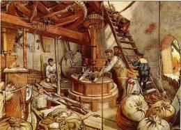 Thema: School, Molen. SCHOOLPLAAT Uit De Jaren 1920-1930 Met Afbeelding Van Het Interieur Van Een Korenmolen. TOP! - School