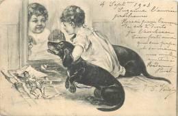 CHIENS  Chien Teckel Avec Enfant Devant La Glace   2 Scans - Perros