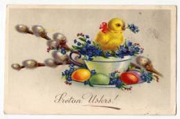 EASTER CHICKEN EGGS FLOWERS Nr. 51-1 OLD POSTCARD 1939. - Easter
