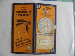 CARTE-ROUTIERE-MICHELIN-R EV1937-N°68-NIORT-CHATEAU ROUX--PA S  DECHIREE-TBE - Cartes Routières