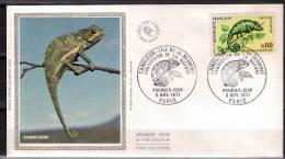 FRANCE  FDC  Sur Soie   1971  Reptiles Cameleon - Reptiles & Batraciens