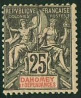 DAHOMEY Groupe 25c Noir Sur Rose Yv 1 * Charnière Légère - Dahomey (1899-1944)