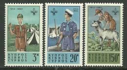 """Cyprus         """" Scouts """"      Set     SC#  224-26   MNH** - Cyprus (Republic)"""