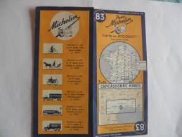 CARTE-ROUTIERE-MICHELIN-1942--N°83-CARCASSONNE-NIMES--PA S  DECHIREE-TBE - Cartes Routières