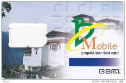 Bhutan,Nu.600 GSM Frame Without Chip, No Value, 2 Scans