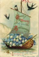(820) Very Old Postcard - Carte Très Ancienne - Birthday - Flowers In Boat - Birthday