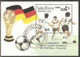 Laos 1991 Mi# Block 135 Used - World Cup Soccer Championships, Italy - Laos