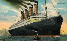 Bateaux, Le R M S Aquitania De La Cunard Line, Carte Glacée Colorisée - Steamers