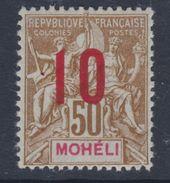 Mohéli N° 22 XX Type Groupe Surchargé : 10 Sur 50,  Sans Charnière TB