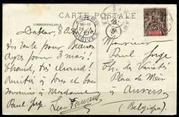 10 Octobre 1910 - SENEGAL Y&T 15 Sur Carte Postale Pour La Belgique - Senegal (1887-1944)