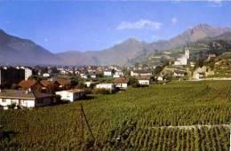 ST LEONARD Les Vignes Et Le Village Avec Au Fond Les Collines De Sion - VS Valais
