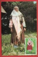 Roumanie - Carte Maximum - Costume National Féminin De La Région De Gorj (Folklore) - Roumanie