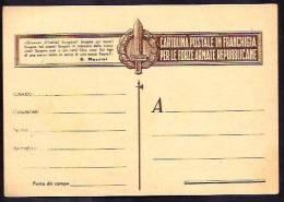GR1107  - CARTOLINA IN FRANCHIGIA R.S.I. - 4. 1944-45 Repubblica Sociale