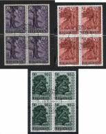 LIECHTENSTEIN-1959-cat. Yvert E Tellier Dal N° 339 Al N° 341- 3 Quartine Usate-serie Completa - Used Stamps