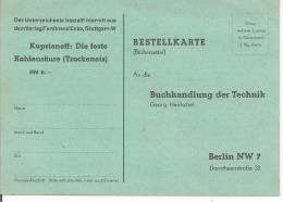 BESTELLKARTE, BUCHHANDLUNG DER  TECHNIK, BERLIN,DIE FESTE KOHLENSAURE, - Minerali