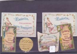 LOTTO 6 ETICHETTE DI PROFUMO CROMOLITO ROSA GELSOMINO ACACIA GAROFANO OPONAX  PIETRO BORTOLOTTI  BOLOGNA  -2-0882-14936 - Perfume Cards