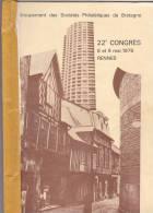 22 Ieme Congres Societes Philateliques Bretagne France. Rennes (35) Mai 1976 - Timbres Breton Morbihan ..;