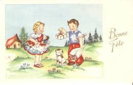 ILLUSTR.  COUPLE D' ENFANTS . FILLETTE AVEC POUPEES . Bonne Fête - Speelgoed & Spelen