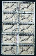 1933    2 Fr. Pigeon Superbe Bloc De 10  Gomme Grillée  Zum 13z   Oblitérations Centrales