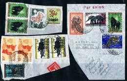 Usages Tardifs  Avec Timbres De La République Sur Fragments :  Animaux, Masque Et CCTA - Congo Belge
