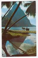 Saint Lucia - Petit Piton With Mule Cart + Bonus 2 Postcards Pitons & Marigot Bay -  Cca. 1960-1970 - Santa Lucia