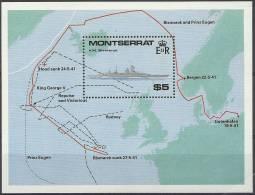 MONTSERRAT - 1990 World War II Battle Ships Souvenir Sheet. Scott 735. MNH ** - Montserrat