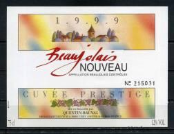 QUENTIN BEAUVAL . Beaujolais 1999 .  (046) - Etiquettes