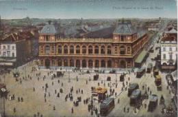 PLACE ROGIER ET LA GARE DU NORD BRUXELLES 1918 - Spoorwegen, Stations