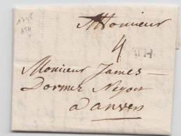 LETTRE PRECURSEUR DE ATH VERS ANVERS + GRIFFE NOIR - 1745 - 1714-1794 (Austrian Netherlands)
