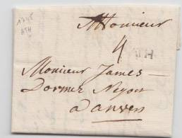 LETTRE PRECURSEUR DE ATH VERS ANVERS + GRIFFE NOIR - 1745 - 1714-1794 (Oesterreichische Niederlande)
