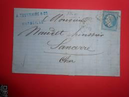 C10; Lettre De  Marseille 4,ou A;variété,VERSO;. - 1862 Napoleone III