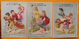 Chromo  Fin 19e / Lot De 3 Chromos Au Flamand / Scène Jeu Enfant / Contrebasse / Horlogerie / Garcon Dans  Presse - Autres