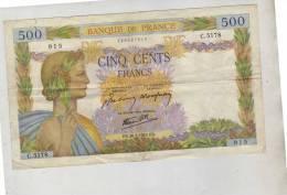 500  Banque De France  500 - Cinq Cents Francs - 915  C.5178  -  ES. 266361942.ES. - 1871-1952 Anciens Francs Circulés Au XXème