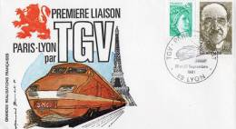 Enveloppe 1er Jour Premiere Liaison PARIS LYON PAR TGV 26ET 27 SEPT 1981 - Railway