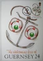 1995 GUERNSEY WELCOMING FACE MAXIMUM CARD MC 3 ANCHOR LIFEBELT BUOYS - Guernsey