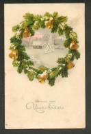 CHRISTMAS  BELLS , FIR-WREATH , OLD POSTCARD - Christmas